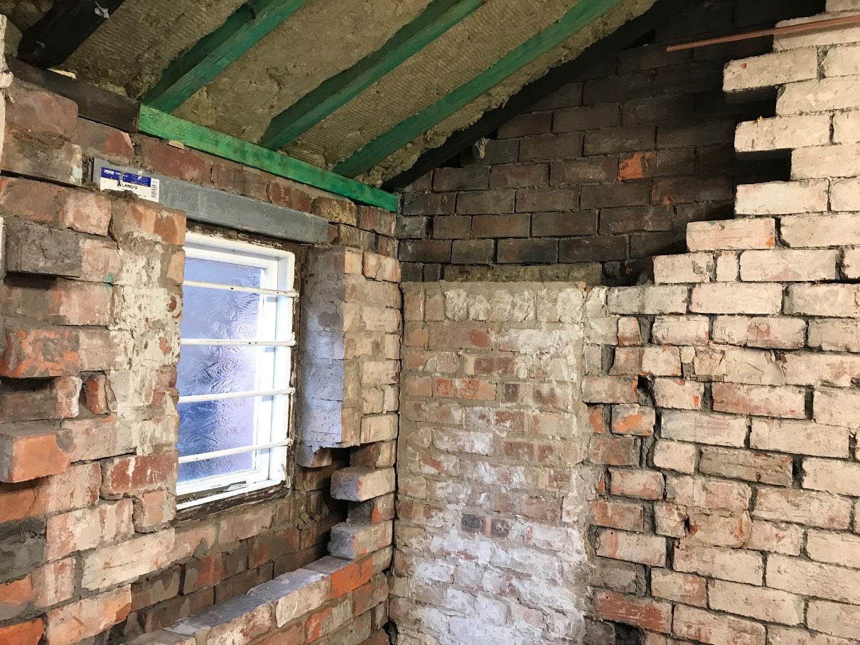 Some damp and loose brickwork